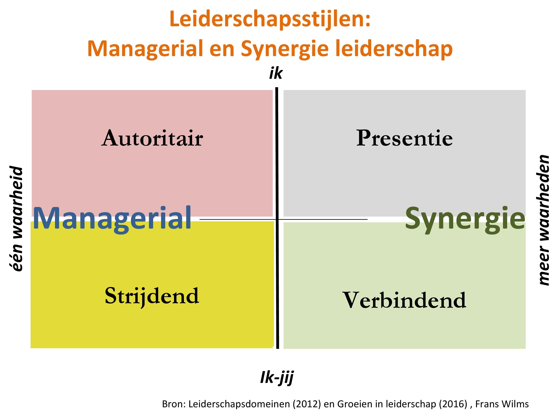 Leiderschapsstijlen, leiderschapsdomeinen, managerial, synergie