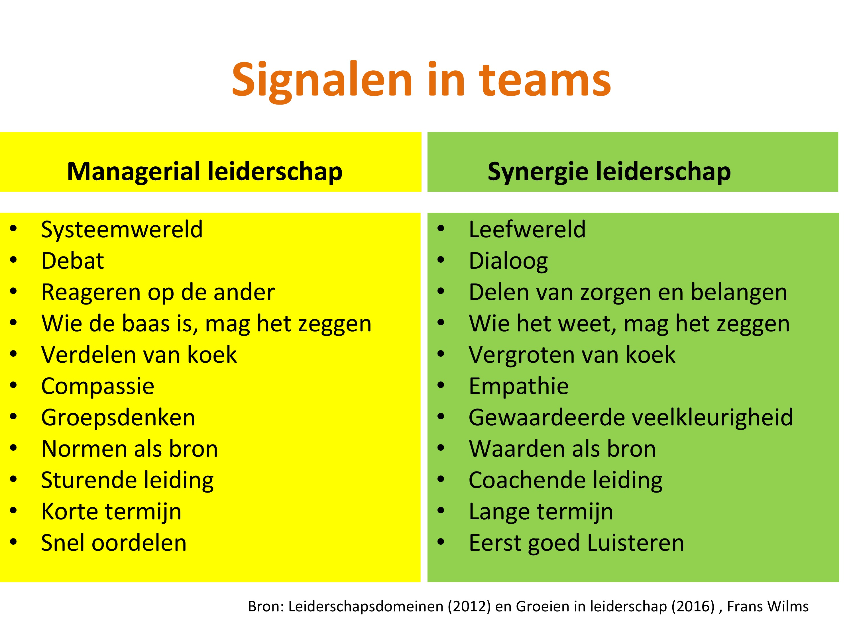 Leiderschapsstijlen, leiderschapsdomeinen, signalen in teams